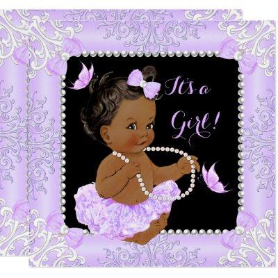 Baby Shower Girl Lavender Butterfly Tutu Ethnic Invitations