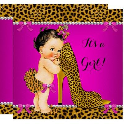 Baby Shower Girl Leopard High Heel Pink Brunette Invitations