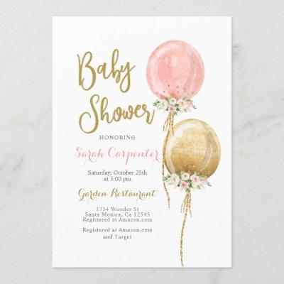 Baby Shower girl pink and gold balloons Invitation