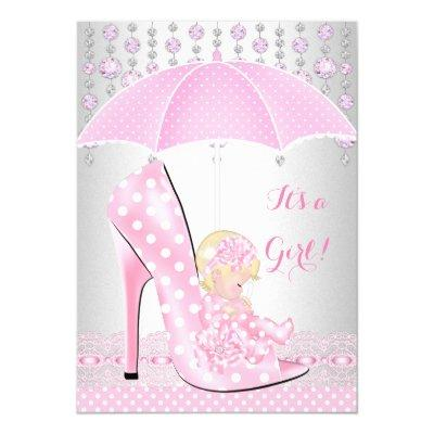Baby Shower Girl Pink Baby Shoe Diamond A2 Invitation