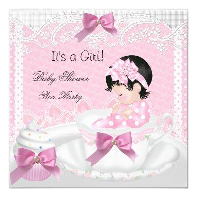 Baby Shower Girl Pink Baby Teacup Cupcake 34 Invitation