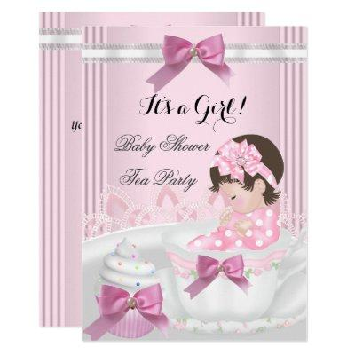 Baby Shower Girl Pink Baby Teacup Cupcake 4b Invitations