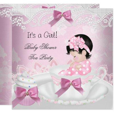 Baby Shower Girl Pink Baby Teacup Cupcake Invitations