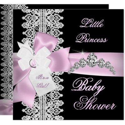 Baby Shower Girl Pink Black White Lace Invitations