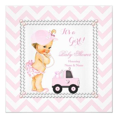 Baby Shower Girl Pink Cap Truck Bear Blonde Invitations