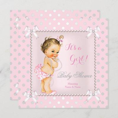 Baby Shower Girl Pink Gray Pearl Brunette Invitation