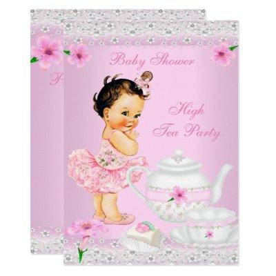 Baby Shower Girl Pink High Tea Party Brunette Invitations