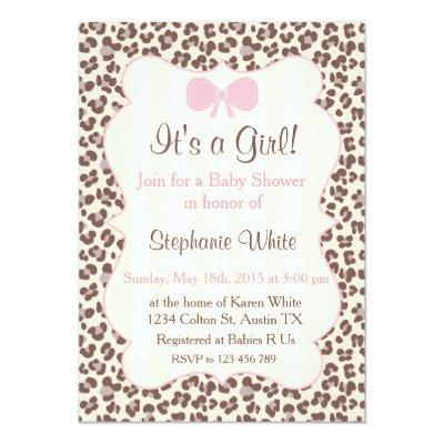Baby Shower girl pink leopard Invitations