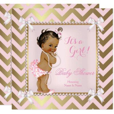 Baby Shower Girl Pink Pearl Gold Chevron Ethnic Invitations