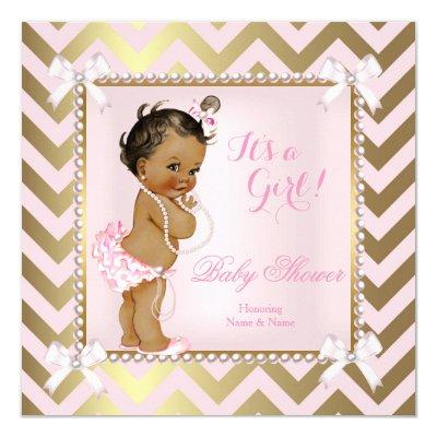 Baby Shower Girl Pink Pearl Gold Chevron Ethnic Invitations