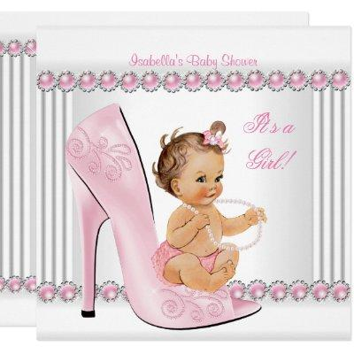 Baby Shower Girl Pink Pearl High Heel Shoes Invitations