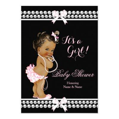 Baby Shower Girl Pink Pearls Black Ethnic Invitations