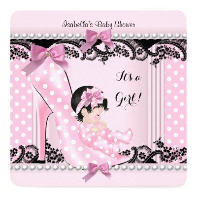 Baby Shower Girl Pink Polka Dots High Heel Shoe Invitation