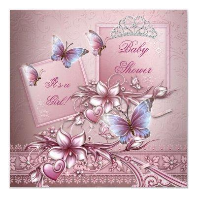 Baby Shower Girl Pink Princess Butterfly Invitations