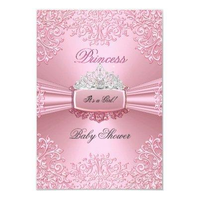 Baby Shower Girl Pink Princess Tiara lace SML Invitations