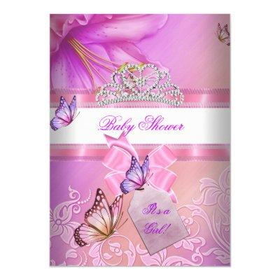 Baby Shower Girl Pink Purple Princess Butterfly 2 Invitations