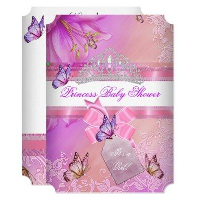 Baby Shower Girl Pink Purple Princess Butterfly 3 Invitation