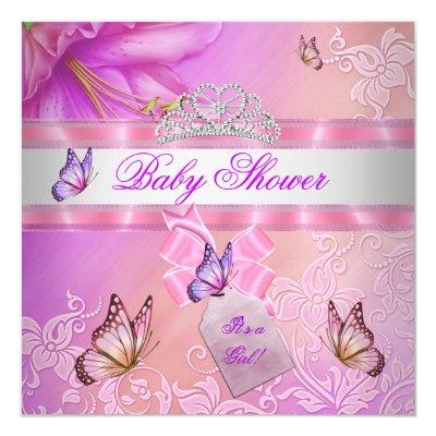 Baby Shower Girl Pink Purple Princess Butterfly Invitations