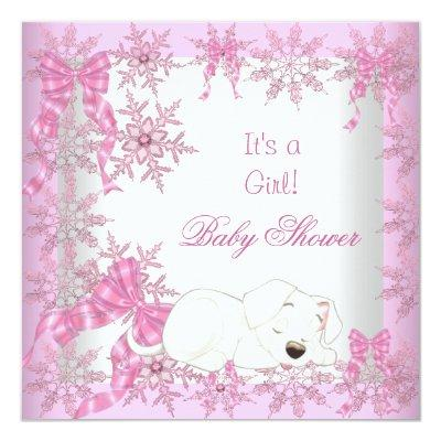 Baby Shower Girl Pretty Pink Snowflakes Puppy 2 Invitations