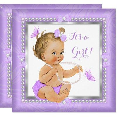 Baby Shower Girl Purple Pearl Butterfly Blonde Invitations