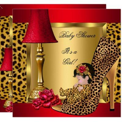 Baby Shower Girl Red Gold Roses Leopard Shoe 1 Invitation