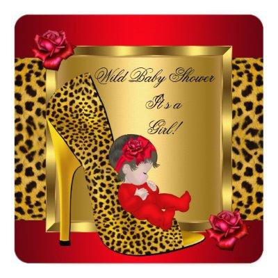 Baby Shower Girl Red Roses Gold Wild Leopard 3 Invitation