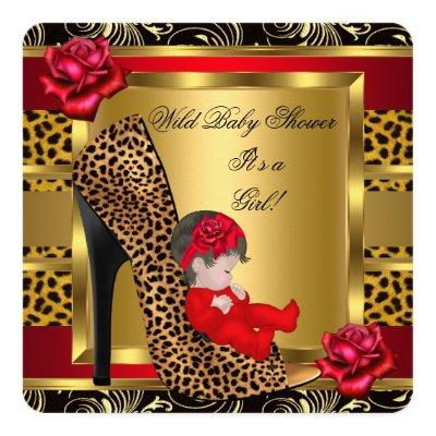 Baby Shower Girl Red Roses Gold Wild Leopard 3a Invitation
