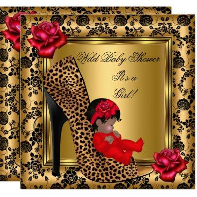 Baby Shower Girl Red Roses Gold Wild Leopard 4 Invitations