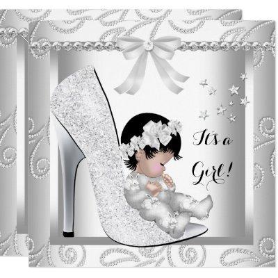Baby Shower Girl Silver Gray White Diamond Shoe Invitations