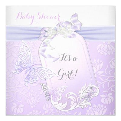 Baby Shower Girl White Lilac Princess Butterfly 2 Invitations