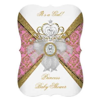Baby Shower Girl White Pink Princess Damask B Invitation