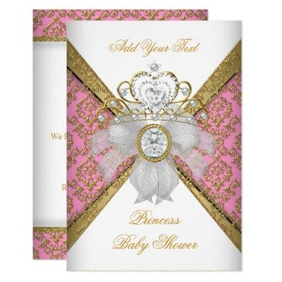 Baby Shower Girl White Pink Princess Damask Invitation
