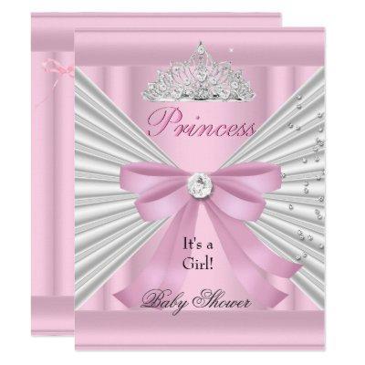 Baby Shower Girl White Pink Princess Tiara Invitations