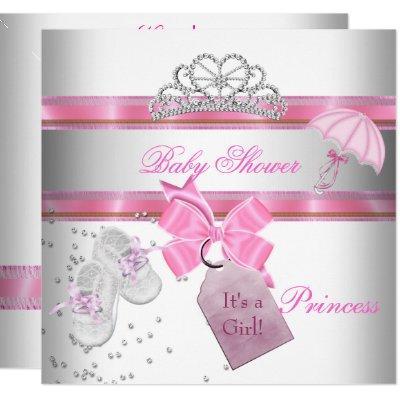 Baby Shower Girl White Pink Princess Tiara Magical Invitations