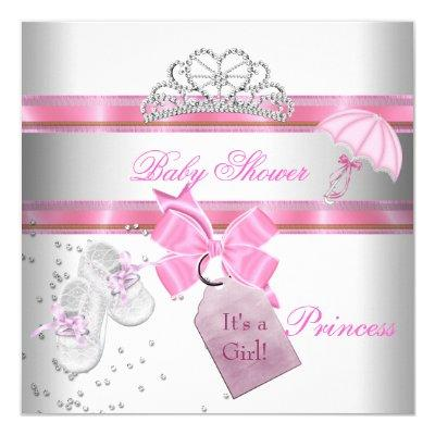 Baby Shower Girl White Pink Princess Tiara Magical Invitations