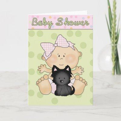 Baby Shower Girl with Black Puppy Invitations