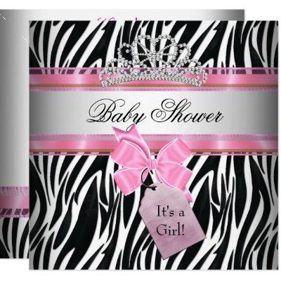 Baby Shower Girl Zebra Pink Princess Black Invitation