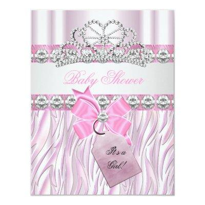Baby Shower Girl Zebra Pink Princess Tiara Diamond Invitations