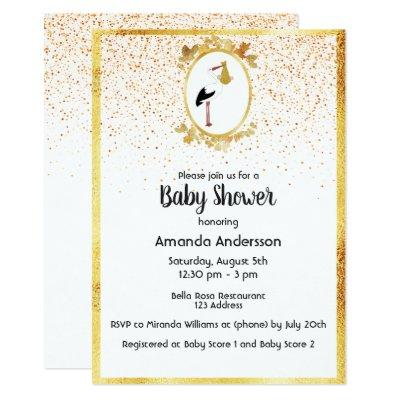 Baby Shower gold frame and stork white confetti Invitations