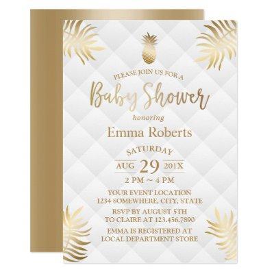 Baby Shower Gold Pineapple Elegant Tropical Invitation