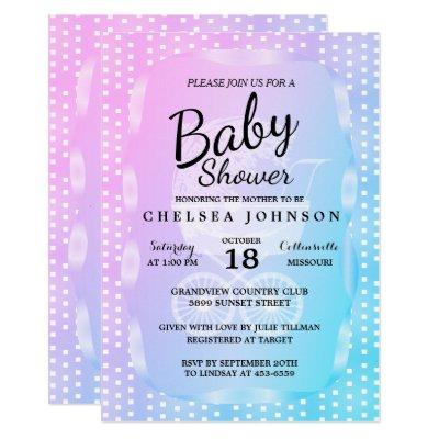 Baby Shower 👶 in a Gradient Pink, Purple and Blue Invitation