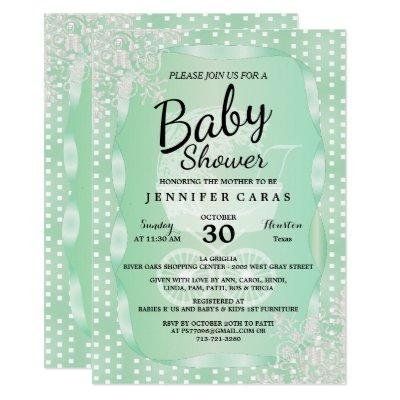 Baby Shower in an Elegant Mint Green and White Invitations