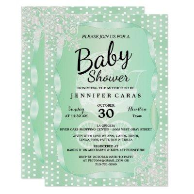 Baby Shower in an Elegant Mint Green and White Invitation