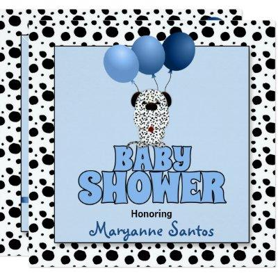 Baby Shower in Blue with Dalmatian Puppy Invitations