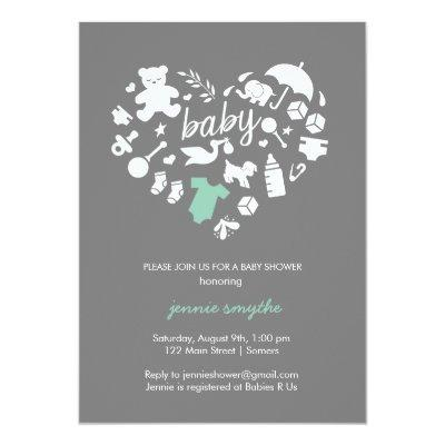 Baby Shower Invitation-Baby Icon Heart-Mint/Grey Invitation