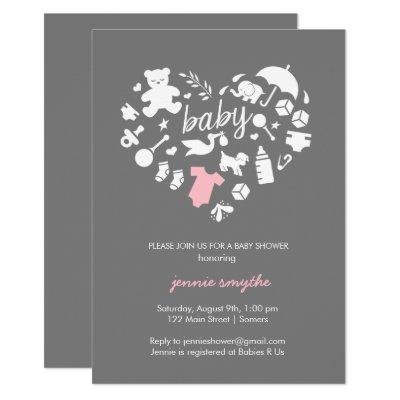 Baby Shower Invitation-Baby Icon Heart-Pink/Grey Invitation