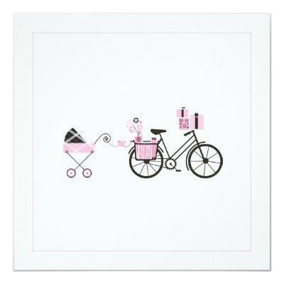 Baby Shower Invitation - Bicycle and Baby Carriage