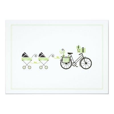 Baby Shower Invitation - Bicycle & Baby Carriage