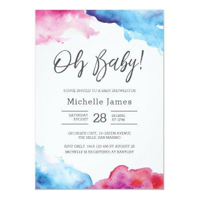 Baby Shower Invitations | Blue and pink watercolour