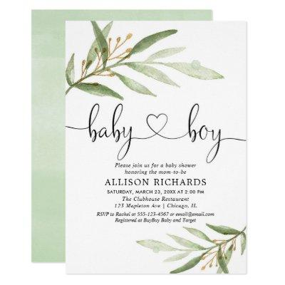 Baby shower Invitations boy simple modern greenery